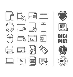 Mobile devices line icons laptop ssd and hdd vector