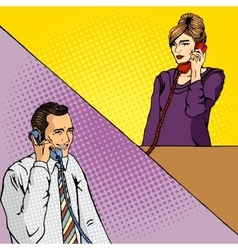 People talk on the phone comic book vector image