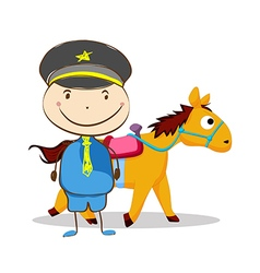 Policeman and a horse on isolated background vector