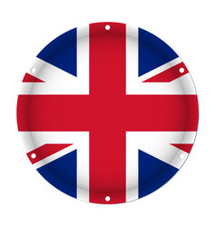round metal flag - united kingdom with screw holes vector image
