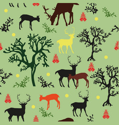 Seamless pattern with deers and trees vector