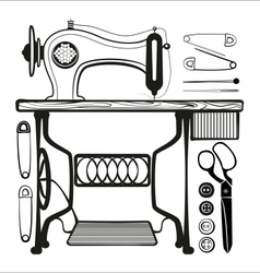 Sewing machine with sewing accessories set vector