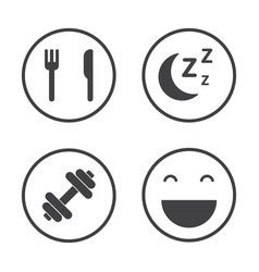 The four pillars of health healthcare icons set vector