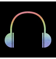Watercolor headphones icon vector