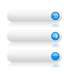 white long buttons with blue arrows menu vector image