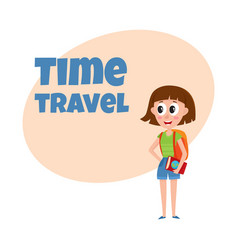 young pretty woman tourist with backpack and vector image