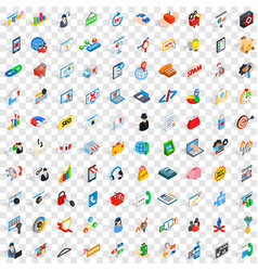 100 statistic data icons set isometric 3d style vector