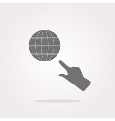 Internet sign icon with people hand world wide vector