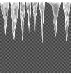 Set of isolated ice icicle on a transparent vector