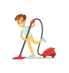 Boy cleaning the floor with vacuum cleaner smiling vector