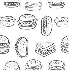 Doodle of hamburger food various vector