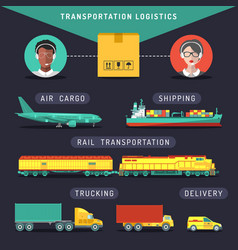 Transportation logistics conceptsea air vector