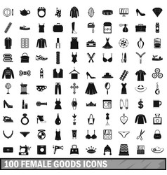 100 female goods icons set simple style vector