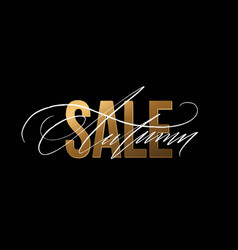 Autumn sale gold glitter sign in black background vector