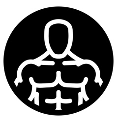 Strong man symbol in black circle vector image