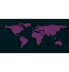Pixel world map with spot lights vector