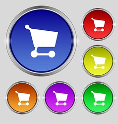 Shopping basket icon sign Round symbol on bright vector image