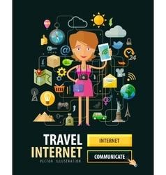 mobile Internet service logo design vector image