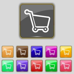 Shopping cart icon sign set with eleven colored vector