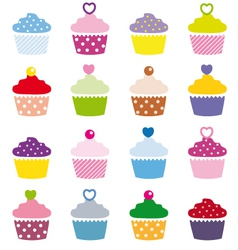 a selection of delicious cupcakes vector image