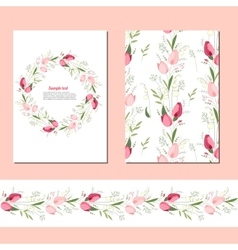 Floral spring templates with cute bunches of vector