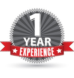 1 year experience retro label with red ribbon vector