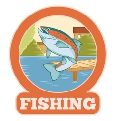 Trout fishing banner vector