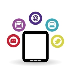 Social media and tablet design vector