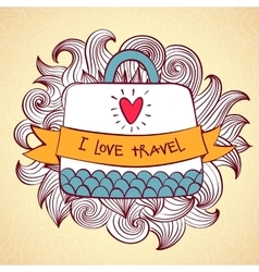 Colourful travel trip concept banner bag vector image