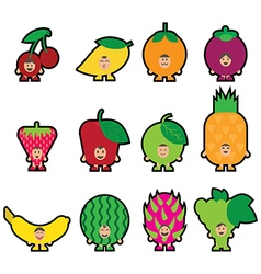 Stickers fruits vector image