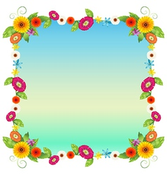 An empty blue template with colourful flowers vector image vector image