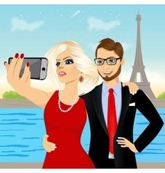 Attractive couple taking selfie photo vector