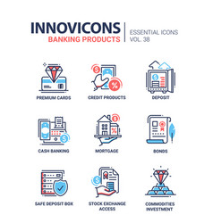 Banking products - modern line design icons vector