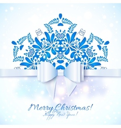 Blue Christmas greeting card with bow vector image vector image