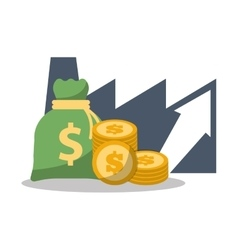 Business financial growth bag money coins vector