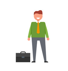 Cheerful businessman and briefcase vector
