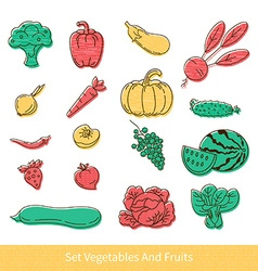 Collection of fruit and vegetables vector