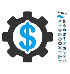 Development cost icon with copter tools bonus vector