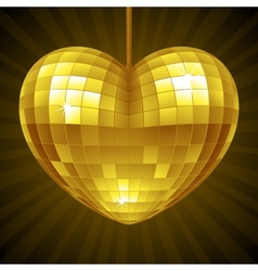 Disco heart yellow mirror disco ball vector