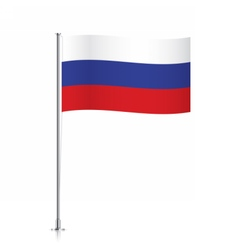 Flag of russia waving on a metallic pole vector