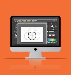 Graphic editor software icon on desktop computer vector