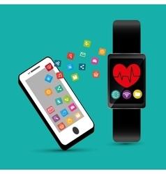 Hand hold smartphone smart watch healthcare app vector