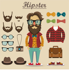 Hipster character and hipster elements vector