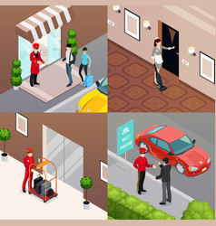 Hotel service 2x2 design concept vector