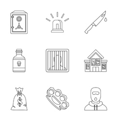Illegal action icons set outline style vector
