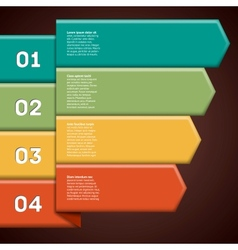 Infographic with four numbered colorful ribbon vector