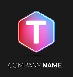 Letter t logo symbol in colorful hexagonal vector