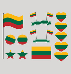 lithuania flag set collection of symbols heart vector image vector image