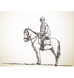 Man riding a horse vector