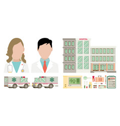 medical set flat design vector image vector image